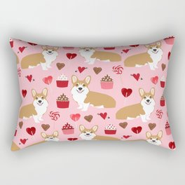 Corgi cupcakes valentines day cute love hearts dog breed corgi crew welsh corgis gifts Rectangular Pillow