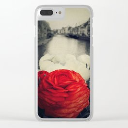 Vintage red Clear iPhone Case