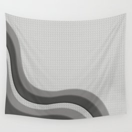 Pantone Pewter Gray Soothing Waves with Canvas Texture Wall Tapestry
