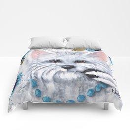 Westie Chickadee Garden Original Art Comforters