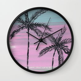 two palm trees sunset sky Wall Clock