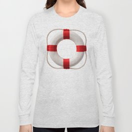 White-red lifebuoy, isolated on white background Long Sleeve T-shirt