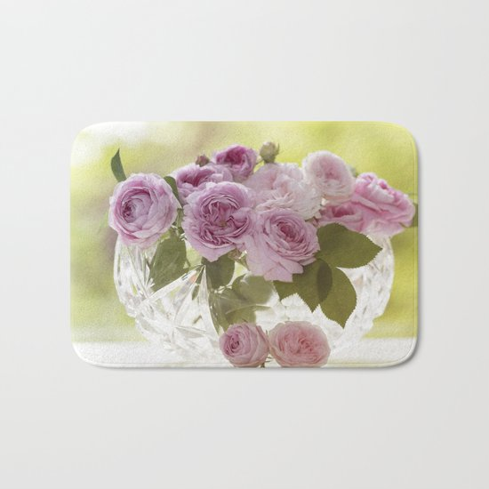 Wonderful English Roses in a crystal bowl- Rose-Flowers- Bath Mat