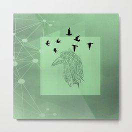 Tribal Raven: Green Metal Print