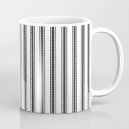 Black and White English Rose Trellis in Mattress Ticking Stripe Coffee Mug