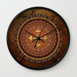 Mandala Armenian Cross Wall Clock