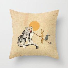 Minhwa: Tiger and Rabbits B Type Throw Pillow