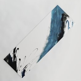 Reykjavik: a pretty and minimal mixed media piece in black, white, and blue Yoga Mat