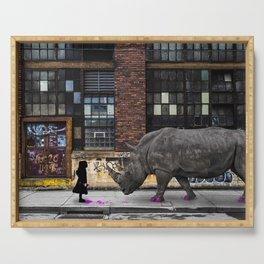 Real Rhinos Wear Pink Serving Tray