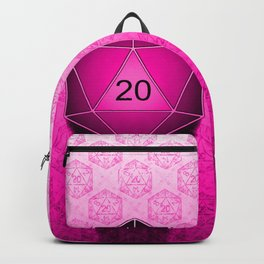 D20 All I Do Is Crit!  Hot Pink Ombre Backpack