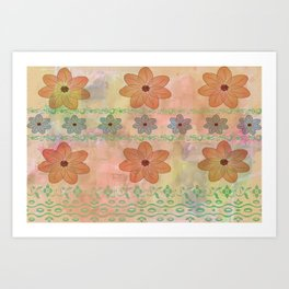Orange floral pattern Art Print