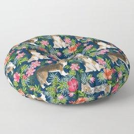 Shetland Sheepdog sheltie tropical florals floral dog breed pattern gifts for dog lover Floor Pillow