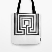 labyrinth Tote Bags featuring Labyrinth by Maria Quilez