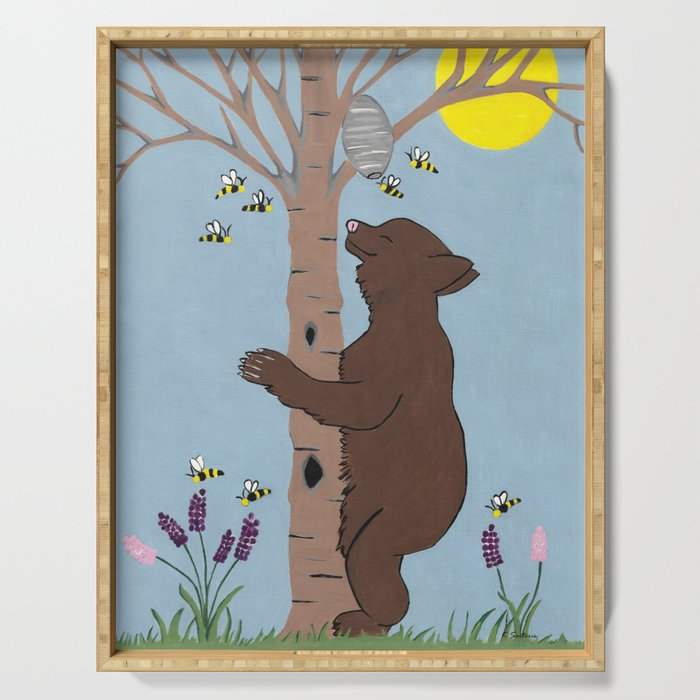 Bees And The Bear Serving Tray