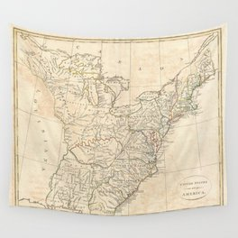 Vintage Map of Early America (1799) Wall Tapestry