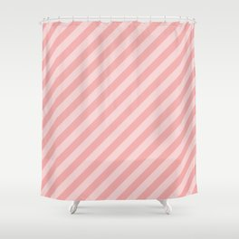 Classic Blush Pink Glossy Candy Cane Stripes Shower Curtain