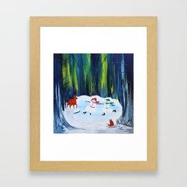 Christmas Night with dancing snowmen Framed Art Print