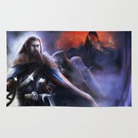 thorin Area & Throw Rugs featuring Thorin and the Lonely Moutain by Nicole M Ales
