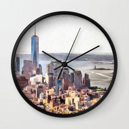 New York, panoramic view, USA Wall Clock