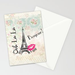 Paris Eiffel Tower Bonjour Oh La La Stationery Cards