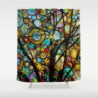 fairy tale Shower Curtains featuring Fairy Tale Tree by Klara Acel