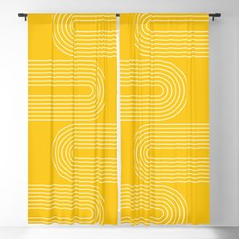 Geometric Lines in Mustard Yellow (Rainbow Abstraction) Blackout Curtain