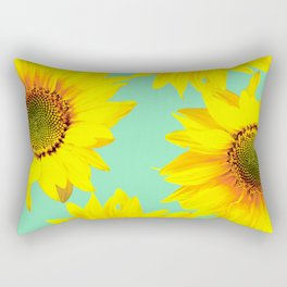 Sunflowers on a pastel green backgrond - #Society6 #buyart Rectangular Pillow