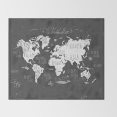 The World Map B/W Throw Blanket