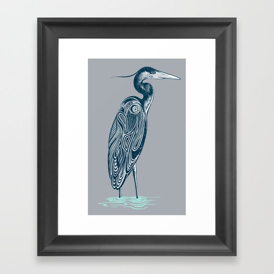 Bewitching blue heron Framed Art Print