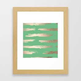 Abstract Paint Stripes Gold Tropical Green Framed Art Print