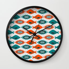 Ethnic pattern with fish Wall Clock