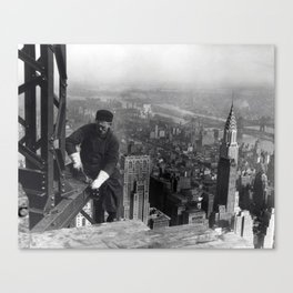 Construction worker Empire State Building NYC Canvas Print