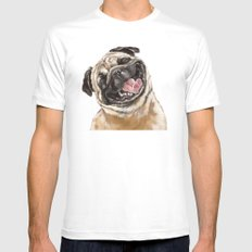 Happy Laughing Pug White Mens Fitted Tee MEDIUM