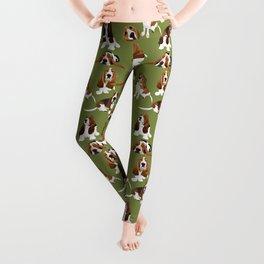 Basset Hounds on Green Leggings