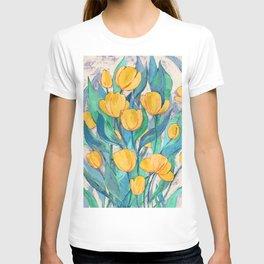 Blooming Golden Tulips in Gouache T-shirt