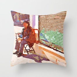Street player in Aleppo Throw Pillow