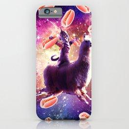 Warrior Space Cat On Llama Unicorn - Hot Dog iPhone Case