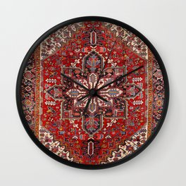 Persia Heriz 19th Century Authentic Colorful Blue Red Cream Vintage Patterns Wall Clock