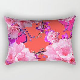 Delicate White & Pink Flower Blossoms Coral Art Rectangular Pillow