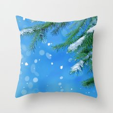 Snow Falling Throw Pillow