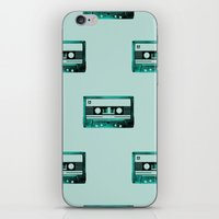 cassette iPhone & iPod Skins featuring cassette by Ginger Pigg Art & Design