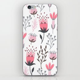 Pink and Gray Tulips iPhone Skin