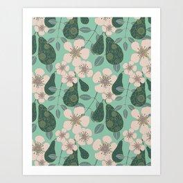 Pear Orchard (aqua) Art Print
