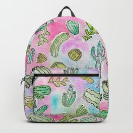 Cute Girly Watercolor Paint Summer Cactus Pattern Backpack