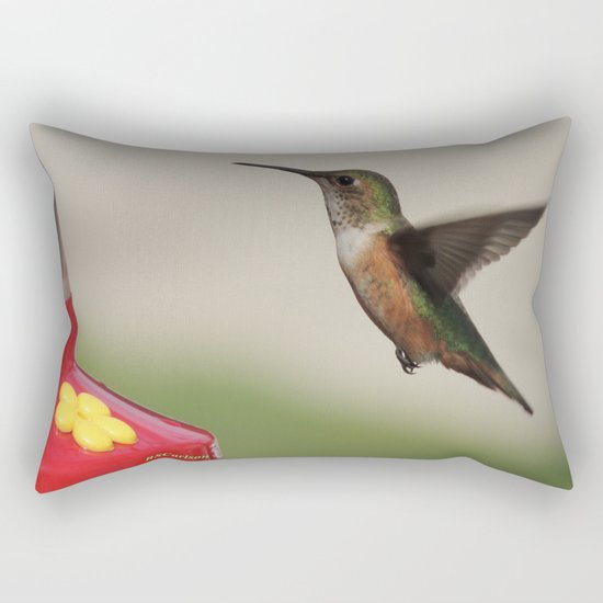 Ms. Hummingbird Checks the Feeder Rectangular Pillow