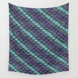 Opalescent Mermaid Scale Stripes Wall Tapestry