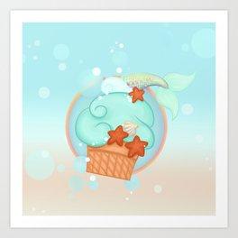 Mermaid cupcake Art Print