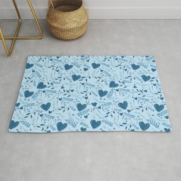 I love you typography sign seamless pattern blue Rug