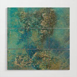 Blue And Gold Modern Abstract Art Painting Wood Wall Art