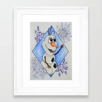 olaf Framed Art Prints featuring Olaf by LadyGabe